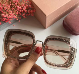 Discount pink glitter butterflies - MU01R Pink Glitter Sunglasses Transparent Nude Pink Sonnenbrille luxury sunglasses for women new with box