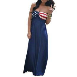 766c5109348 2018 Women Summer Long Maxi Dress Boho Evening Party Halter Dress Beach  Dresses Vestido American Flag Dress