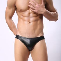 445b6fd056192c Sexy Gay Underwear Men Briefs Shorts Black Faux Leather Underpants U Convex  Pouch Low Waist Panties Cueca calzoncillos M-XL