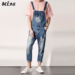 ca2669a7795 Men Overall Jumpsuit Canada - Mens Distressed Jeans Ripped Jumpsuit Denim Overalls  Men Baggy Cargo Pants