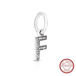 Flat Letters For Bracelets UK - Letter F Authentic 925 Sterling Silver Jewelry Crystal A-Z Letter Pendant Charms Fit For Pandora Original Bracelet & Necklace791318CZ