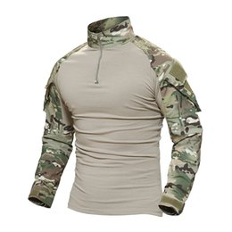 orange camouflage clothing 2019 - TACVASEN Tactical T-shirt Men Camouflage T Shirt Long Sleeve T-shirts For Fishing Hunting Clothes Tee Shirts cheap orang