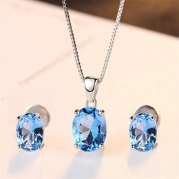 $enCountryForm.capitalKeyWord Canada - Oval 1.8ct Natural Blue Topaz Stud Earrings Pendant Necklace 925 Sterling Silver Wedding Jewelry Set With S925 45cm Box Chain S18101508