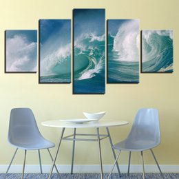 Art Canvas Prints Australia - HD Printed Pictures Framework Canvas Wall Art For Living Room 5 Pieces Sea Wave Billow Painting Poster Landscape Home Decoration
