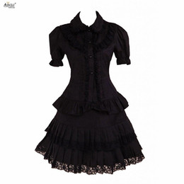 Chinese  Womens Lolita Dress Gothic lolita Black Lace short Sleeves Trim Cotton Cosplay Sexy Dress  Supporting Custom-tailor Ainclu manufacturers