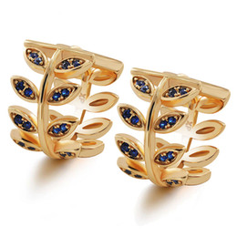 $enCountryForm.capitalKeyWord UK - MGFam (500E) Blue   Black   White Zircon Leaves Hoop Earrings 18k Gold Plated For Women Fashion Jewelry 2018 New Design Good Quality