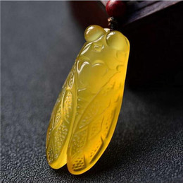 $enCountryForm.capitalKeyWord Australia - natural Ice of chalcedony pendant cicada pendant yellow agate chalcedony carved cicada jade pendant for women and men