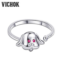 $enCountryForm.capitalKeyWord Canada - Cute Dog Ring 925 Sterling Silver Loyal Partners Dog Animal Female Ring for Women Girls Fashion Adjustable Jewelry VICHOK