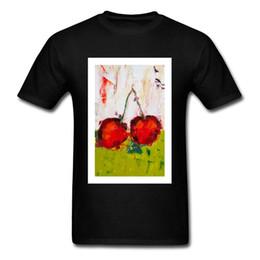Cotton Cherry Australia - Dueling Cherries Painting Fall 100% Cotton Crew Neck Tops & Tees Watercolor Printed Tee Shirt Rife Custom Tshirts Wholesale