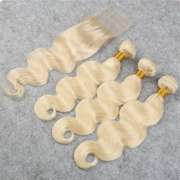 brazilian body way hair 2019 - Blonde Hair #613 Body Wave 3 Bundles With 1 Lace Closure 4Pcs Lot Free Middle 3 Way Part Closure With Virgin Human Hair