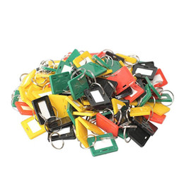 Key Rings Plastic Id Label UK - New Arrival plastic Men Keychain Luggage Key Tags mix Style ID Label Name Colorful Key Tags Split Ring Keychains