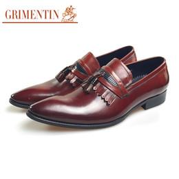$enCountryForm.capitalKeyWord Australia - GRIMENTIN Hot Sale Brand Mens Loafers High Quality Fashion Mens Dress Shoes Genuine Leather Tassel Slip On Formal Business Mens Shoes WF