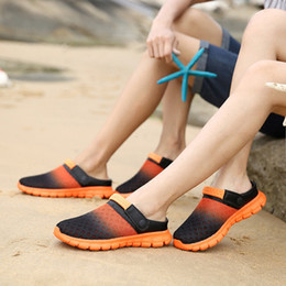 Discount new bird shoes - 2017 new Spring and summer men's cloth cool slippers breathable hole shoes men sandals trend birds nest gradient lazy ha