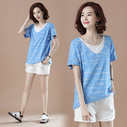 e933541d21a Original big code relaxed leisure vacation two letters short sleeved T-shirt  ladies long fat sister jacket Xia Xinkuan