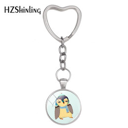 paintings bottles NZ - 2019 New Love Penguins Kissing Keyring Cute Penguin Painting Heart Keychain Silver Hand Craft Jewelry Glass Dome Accessory