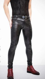 cd053561f84b84 S-4XL New men singer Fashion DJ GD serpentine Elastic sexy Slim PU leather  pants tight motorcycle plus vesvet trousers stage costumes