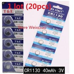 Li Button Cell Australia - 20pcs 1 lot CR1130 3V lithium li ion button cell battery CR 1130 3 Volt li-ion coin batteries card Free Shipping