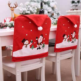Decoration For Party Tables NZ - Snowman Santa Claus Cap Chair Cover Christmas Dinner Table Party Red Hat Chair Back Covers Xmas Christmas Decorations for Home LE170