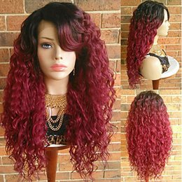 Synthetic red lace front online shopping - Hot Sexy Women Wigs Density inch Ombre Burgundy Wine Red Kinky Curly Hair Heat Resistant Synthetic Lace Front Wigs With Baby Hair