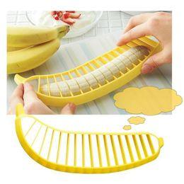 Banana Cutter Slicer Chopper Australia - Practical Banana Slicer Cutter Chopper Fruit Salad Vegetable Peeler Kitchen Tool Yellow