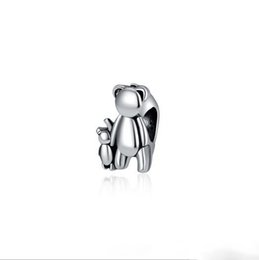 500bd1359 Baby Charm Beads UK - Fit Pandora Charm Bracelet European Silver Bead Charms  Bear Mother &