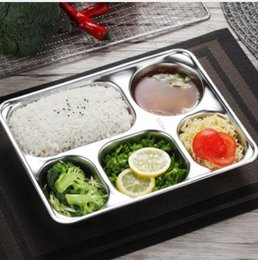Wholesale 304 Stainless Steel Dinner Plate Children Divided Dish Snack Dinner Plate Compartments Restaurant Dinner Plate KKA5867