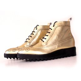 casual shoe thick heel UK - British style pointed toe lace up high top men boots gold color carved fretwork ankle boot men shoes thick bottom casual boots