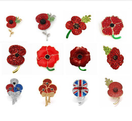 Crystal Poppy Wholesale Australia - 26 Style Red Enamel Poppy Flower Brooch Pins With Crystal Souvenir RBL Badge Pin UK Legion Remembrance Day Gift Badge Rhinestone Wholesale