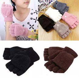 $enCountryForm.capitalKeyWord NZ - Winter Warm Men Women Gloves Cute Half Finger Turn Over Flip Knitted Mittens Hot Sale 6 Colors Gloves Without Fingers