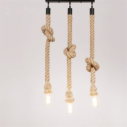 China Creative Rope Lamp Ceiling Light Vintage Loft Creative Personality Industrial Lamp Edison Bulb American Style Ceiling cheap rope light ceiling suppliers