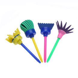 children stationery sets NZ - 4Pcs set Rotate Spin Sponge Paint Brush Kids Children Flower Graffiti Art Drawing Painting Toys Tool School Stationery Supplies