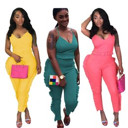 $enCountryForm.capitalKeyWord Canada - Summer Women's Tracksuit Two Piece Sets Sleeveless Ruffle Top and Pants Ladies Streetwear Leisure Suit Jogger Outfits Women Set