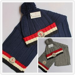 93d33680fc5 Brand Mon Women Pom Beanie Hat Scarf Set Girls Winter Ski Hat Casual Knit  Skull Cap With Red Black Stripes Brim Knitted Letter Cap Scarf