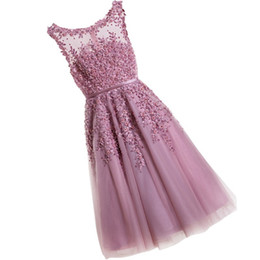 $enCountryForm.capitalKeyWord UK - New 2019 Short Prom Dresses Blush Pink Round Neck Sleeveless A Line Appliques Lace Pearl Beaded Knee Length Formal Evening Gowns