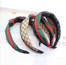 Toptan satış Popüler kafa bandı kumaş yeşil kırmızı çizgili kafa bandı yüksek dereceli düğümlü ekleme ekose kafa Saç Aksesuarları Araçları destek toptan