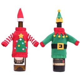 $enCountryForm.capitalKeyWord NZ - 2018 Christmas Wine Bottle Cover Red Green Cloth Hat Dress Wine Bottle Cover Set Christmas Decoration