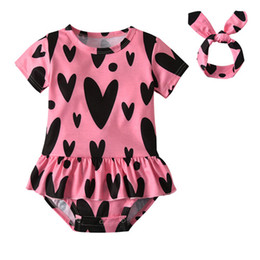 cute clothes UK - Summer Newborn Baby Girls Clothes Toddler Short Sleeve Cute Heart Print Romper+Headband Infant 2Pcs Baby Clothing Set