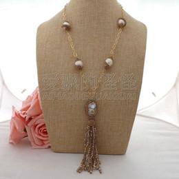 "Necklaces Pendants Australia - N060408 22"" White Keshi Pearl Chain Crystal Necklace CZ Pendant"