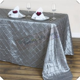 $enCountryForm.capitalKeyWord NZ - Silver color 145cm*305cm Free shipping 10pcs Pintuck Taffeta table cloths lattice Rectangle table covers Christmas party decoration