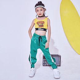 909bd805bae6 2018 Hip Hop Dance Costume Kids Jazz Vest Pants Girls Street Dance Clothing  Children Stage Costumes Performance Wear DNV10146
