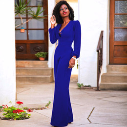 Blue black red long sleeve women office jumpsuit wide leg loose sexy v-neck  elegant tunic fashion palazzo pants female playsuits a8ca1ff6b