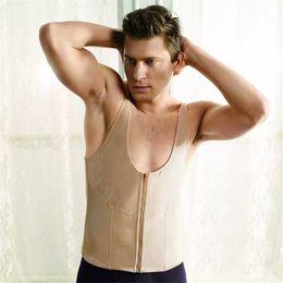 $enCountryForm.capitalKeyWord Canada - Wholesale Zipper Net Body Corset Underwear Shapers Bodysuit Slimming Vest For Men