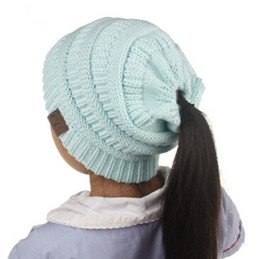 ade3fa096f9 Kids CC Ponytail Hats Knitted CC Trendy Beanie Winter Oversized Chunky  Skull Caps Soft Cable Knit Slouchy Crochet Hats Outdoor Hats