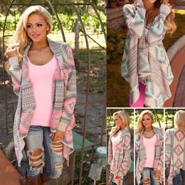Loose pink diamonds online shopping - Women Geometric Print Cardigan Tops Long Sleeve Diamond Coat Loose Sweater Casual Knit Outwear Irregular Striped Jacket AAA973