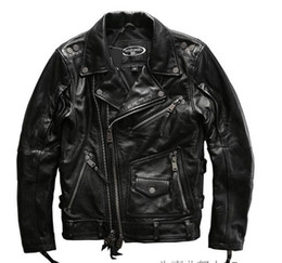 Motorcycle jackets usa online shopping - USA Harley Angel motorcycle suit men s leather jacket lapel double oblique zipper short motor clothingThick cowhide leather