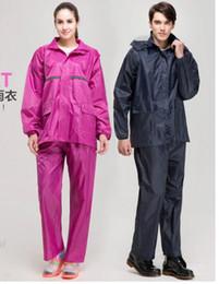 Rains Pants Canada - 2sets wholesale Polyester article reflective breathable raincoat Fission raincoat rain pants suit men women single raincocat
