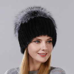4ec688729c0 Hot Style Female Mink Fur Cap For Women Winter Warm Hat Vertical Knitted  Mink With Fluffy Silver Fox Part Less On The Top Hat D18110102