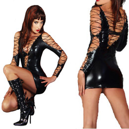 erotic pvc dresses UK - Black Leather Sexy Dress for Women Intimate Bandage PVC Erotic Costumes Latex CatsuitWet Look Sexy Lingerie Long Sleeved Dress S927