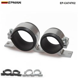 Fuel Filter Pump NZ - Tansky - Car New Styling Twin Dual Double 044 fuel pump & Filter Mounting Bracket Anodized Aluminum bracket EP-CA747K2