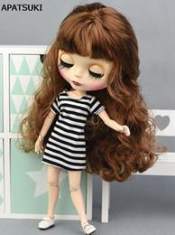 $enCountryForm.capitalKeyWord Australia - Black White Striped Doll T-shirt for Blythe Dolls Base Shirt Top Clothes Dress For Blyth Doll Clothes 1 6 Accessories